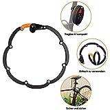 WOTOW Faltschloss Fahrradschloss mit Halterung Fahrrad Sicherheitsstufe 10 Hoch mit 3 Schlüssel für Mountainbike Rennrad BMX MTB, Schwarz