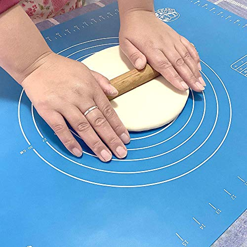 Pastry mat Silicone Non Slip - Extra Thick Non Stick Silicone Baking Fondant Sheet for Rolling Dough and Easy to Clean Kneading Mats with Measurements 19.9 X 15.8 Inches
