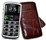 Original Suncase Tasche für / Emporia Talk Comfort / Emporia Talk Comfort Plus / Emporia Talk Basic / Leder Etui Handytasche Ledertasche Schutzhülle Hülle Hülle *Lasche mit Rückzugfunktion* in croco-braun