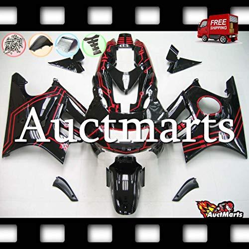 Auctmarts Injection Fairing Kit ABS Plastics Bodywork with FREE Bolt Kit for Honda CBR600F3 CBR 600 F3 1995 1996 1997 1998 Gloss Black Red Line (P/N:1p13)