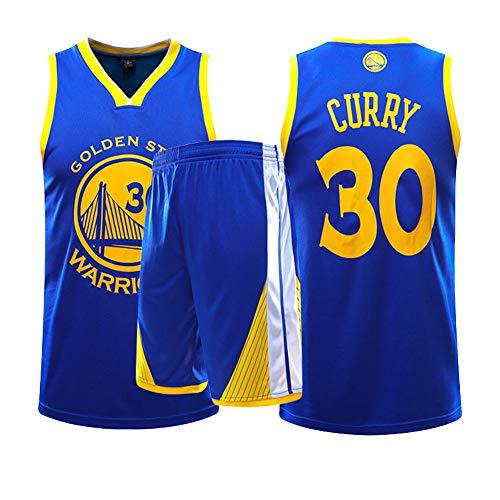Dybory Golden State Warriors # 30 Curry Trikot, Herren NBA Retro Basketball Shorts Sommer Trikots Basketball Uniform Top & Short,Blau,5XL