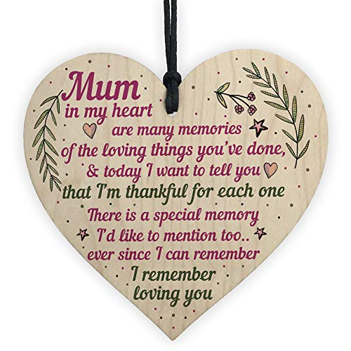 RED OCEAN Mum Gifts From Daughter Son Wooden Heart Plaque Birthday...