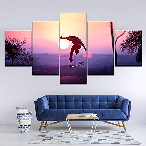 Canvas schilderij jongen skateboarden met zonsondergang 5 stuks Wall Art schilderij modulaire achtergronden Poster Print Home Decor
