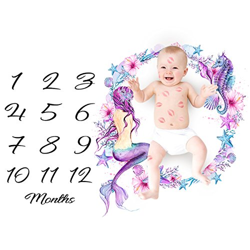 XingYue Direct Couverture mensuelle de bébé de bébé Couverture de Nouveau-né de Photo d'accessoires de Toile de Fond pour Le Nouveau-né garçons Filles (Color : Mermaid)