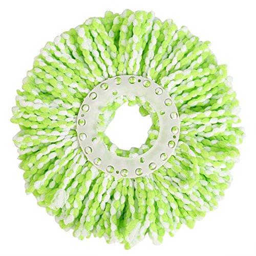 Rechange Tête de Vadrouille Round en Microfibre Mop Remplacement Tête Universelle Rotation à 360 ° Eau Super Absorbante Ménagers pour Planchers de Bois Franc| Système de Nettoyage à Sec(Vert/Blanc)