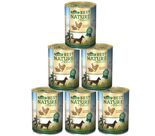 Dehner Best Nature hondenvoer, volwassenen kip en konijn met pasta, Kip en konijn met pasta, 6 x 400 g