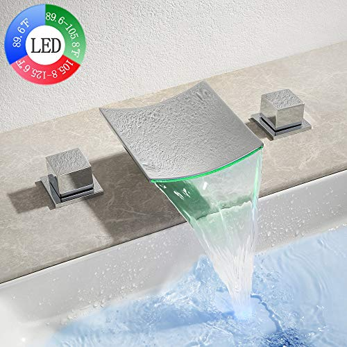 Dr Faucet LED Waterfall Faucet Bathroom Faucet 3 Hole Widespread Waterfall Bathtub Faucet Dual Handle Deck Mount Mixer Tap 8-16 Inch, Polished Chrome