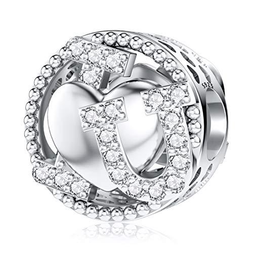 JIAYIQI I I Love U charm per braccialetti Pandora in argento Sterling 925 per gioielli da donna, regalo di Natale