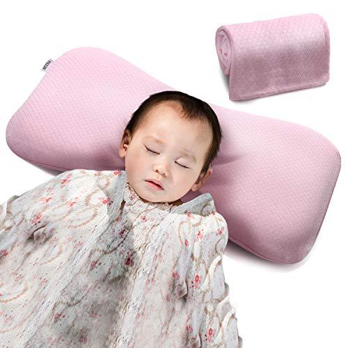 NEXSIABABYベビー枕赤ちゃんまくら向き癖改善絶壁防止低反発綿100%通気性【替えカバー付き】(ピンク)