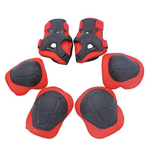 Genouillère Protections de Skateboard protection Gear Set pour Patinage, 6 Pcs / Set Enfants Patinage de protection Velo Cyclisme rouge