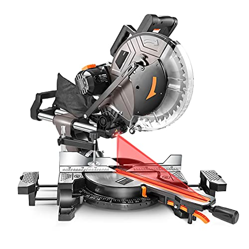 Miter Saw, 12inch 15Amp Double-Bevel Sliding Compound Miter Saw With Laser, Crosscutting Miter Saw, 3800rpm, Adjustable Cutting Angle, Extensible Table, 40T Blade - PMS03A