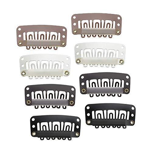 Bocotoer Snap Pruik Clips Zachte Rubber 6 Tanden U-vorm Metaal Hair Extensions DIY Clips Willekeurige Kleur 100 Stuks