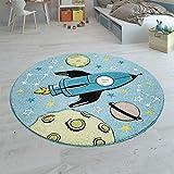 Paco Home Kinderteppich Kinderzimmer Teppich Rund Junge Mädchen Moderne Weltall Motive, Grösse:120 cm Rund, Farbe:Blau