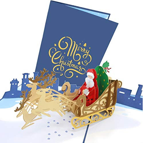 PopLife Santa's Sleigh and Reindeer Pop Up Christmas Card, Handmade 3D Holiday Greeting, Blank Merry Christmas Note, Small Stocking Present for Friends and Family, Naughty or Nice