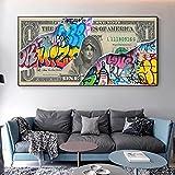 MKWDBBNM Moderno Abstracto Graffiti Art Dollar Lienzo Pintura Impresiones abstractas y Carteles Imagen de Arte de Pared para la decoración del hogar de la Sala de Estar | 70x140cm Sin Marco