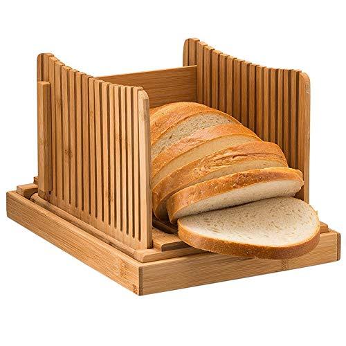 PUMYPOREITY Cortador de pan de bambú natural para pan casero, plegable y compacto con bandeja para recoger migas, cortador ajustable de 3 grosores para pan y pasteles, sándwich