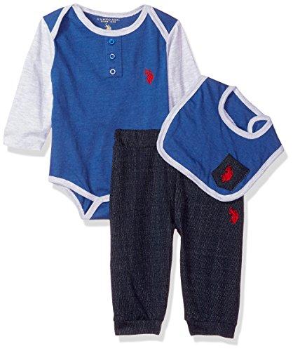 U.S. Polo Assn. Baby Boys' Creeper, Bib Hat and Pant Set, Blue, 18M