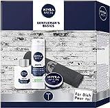 NIVEA Men Gentlemans Basics - Set de regalo con bálsamo para después del afeitado, espuma de afeitar, crema y toalla, set de afeitado para hombre cuidado