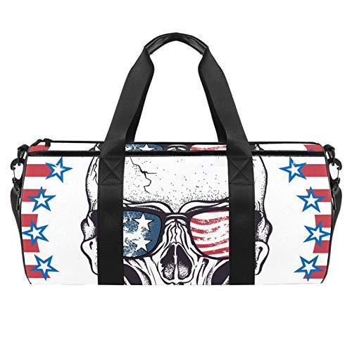 LAZEN Hombro Handy Sports Gym Bags Travel Duffle Totes Bag para hombres, mujeres, calavera, con gafas de sol