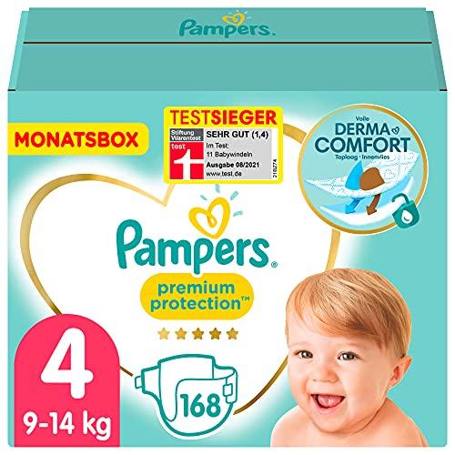 Pampers Baby Windeln Größe 4 (9-14kg) Premium Protection, 168 Stück, MONATSBOX, Pampers Weichster Komfort Und Schutz