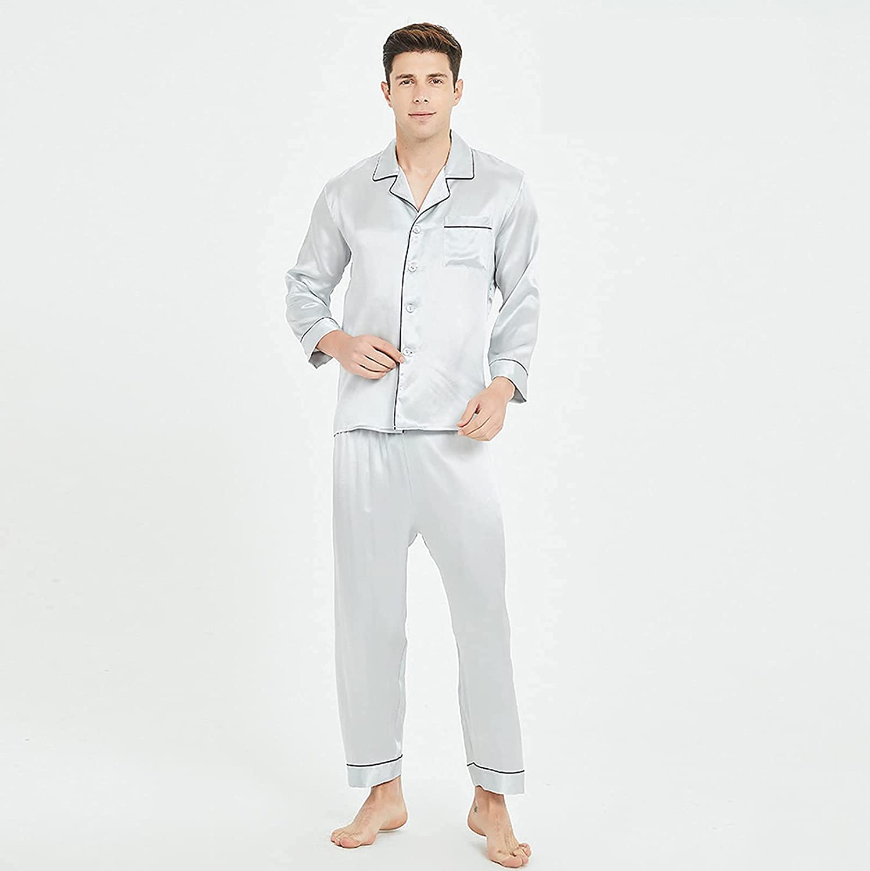 Pajama Men Sleepwear Silk Pajamas for Men Sleepwear Sexy Cozy Soft Long Sleeve Nightgown Tops Trousers Two Piece Set