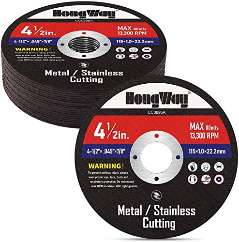 HongWay 20 Pack Cut-Off Wheels, 4-1/2 x 7/8-inch Metal&Stainless Steel Cutting Wheel, Thin Metal Cutting Disc for Angle Grinder