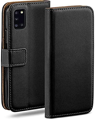 moex Klapphülle kompatibel mit Samsung Galaxy A31 Hülle klappbar, Handyhülle mit Kartenfach, 360 Grad Flip Hülle, Vegan Leder Handytasche, Schwarz