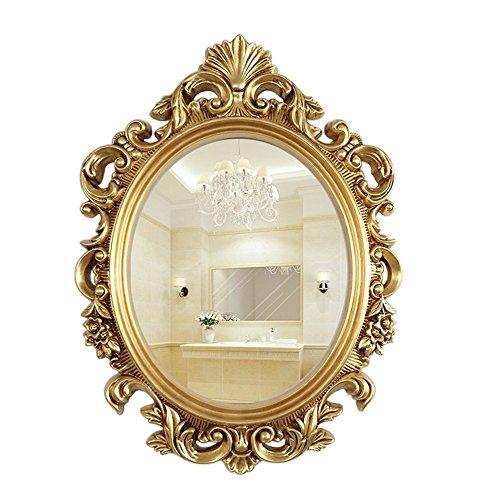 RSWLY Espejo de baño con espejo ovalado europeo, espejo de pared para pasillo o salón, oro antiguo, plata antigua, 2 tamaños opcionales (color: oro antiguo, tamaño: 54 x 75 cm)