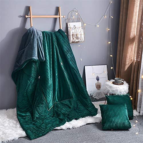 Stafeny Fundas de cojín, manta mágica suave para mantener el calor, manta multifuncional, manta de franela, sofá, silla, coche, almohada (verde oscuro, 40 x 40 cm)