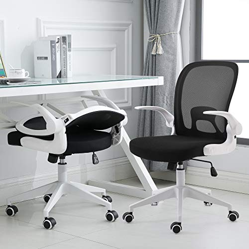 Ergonomic Design Foldable Backrest and Armrest Safety Comfortable Office Chair for Home and Study (White)