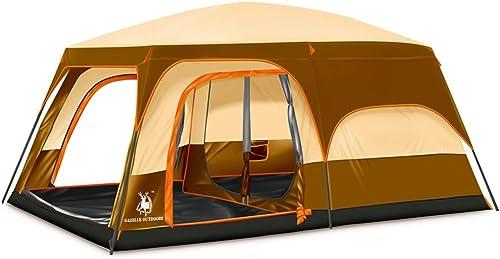 YHKQS-KQS 430 × 300 × 210cm Doubles couches de pluie-Proof Outdoor Camping Supplies Deux chambres et une famille Hall 6-8 gens Tente(Avec sac, lumières de camping)