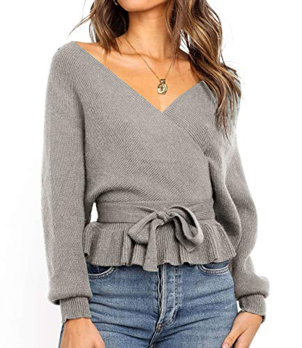 ZESICA Women's Wrap V Neck Long Batwing Sleeve Belted Waist Ruffle Knitted Sweater Pullover Top Grey