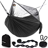 Sunyear Hammock Camping with Net/Netting & 2 Tree Straps (16+1 Loops Each,20Ft Total), Portable Nylon Parachute Hammocks for Outdoor Indoor Backpacking Survival & Travel