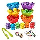 INTVN Juego de Osos de conteo de arcoíris con Tazas de clasificación y Pinzas a Juego - Juego de Juego de Colores de Montessori Rainbow - Juguetes educativos para niños pequeños(47Piezas Set)