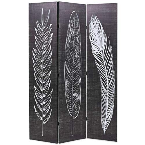 Festnight Paravent 3-teilige Raumteiler klappbar 120 x 180 cm Federn Schwarz-Weiß