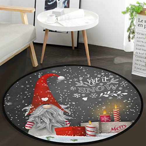 Vdsrup Cute Christmas Gnome Snowflakes Round Doormat Xmas Candles Gift Boxes Non Slip Absorbent Round Rug Floor Carpet Yoga Mat for Entryway Bedroom Living Room Sofa Home Decor