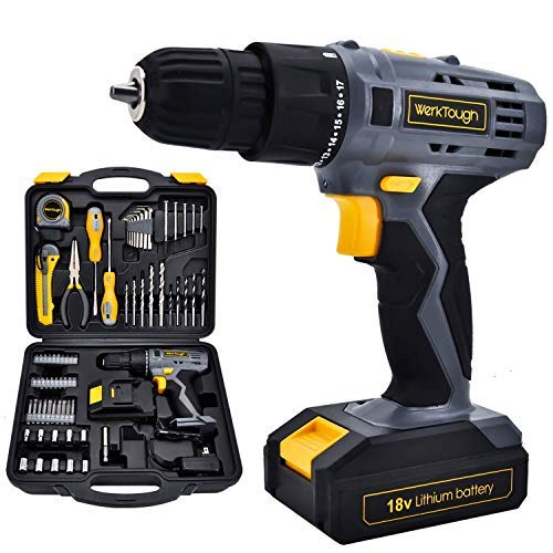 Werktough D018 18V Cordless Drill Driver 2 viable Speed Powerful Screwdriver Lion Battery Accessories (D018-77Accessories-Drill)