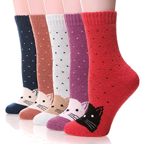 EBMORE Women's Fashion Soft Printed Wool Warm Winter Thick Socks - 5 Pack (Cat Dot) Fit Shoes Size US 6 - 10