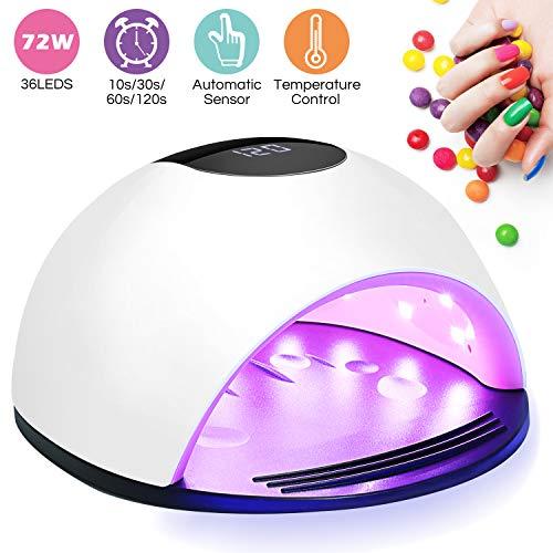 Lampe UV Sèche Ongles,Winpok 72W Lampe UV Ongles Gel Avec LCD Ecran Et 4 Minuterie de 10s/30s/60s/120s, Base démontable,Semi...