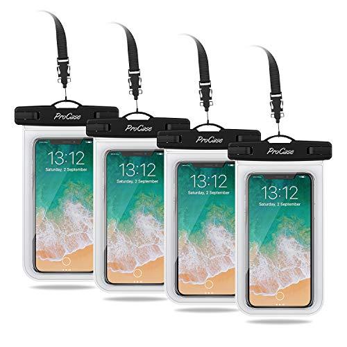 "ProCase 4 uds. Funda Estanca Móvil Universal, Bolsa Impermeable IPX8 para iPhone 11 Pro MAX/XS Max/XR/X/8/7, Galaxy Note10+/S10/S10e/S9+, Huawei Xiaomi Redmi Honor BQ hasta 6,8"" -Transparente"