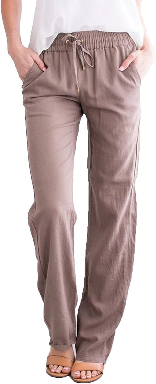 Women's Casual Straight-Leg Pants Ankle Summer Fashion Beach With Pockets Trousers Drawstring Elastic Sportpants (Medium,Khaki)