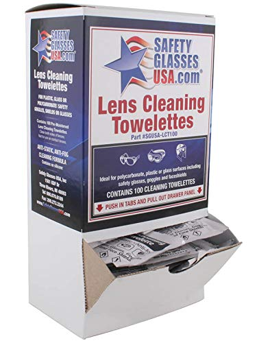 Safety Glasses USA Pre-moistened Lens Cleaning Wipes, Box of 100, Made in USA