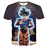 Hombres Cosplay Goku 3D Dragon Ball Printed Comic Fans Anime Cartoon Camisetas de Manga Corta Unisex 3D Printed Tops Tees Casual Camisetas de Manga Corta-A_S