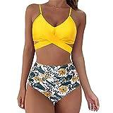 Estampado De Leopardo Sexy para Mujer Impresin En Color Slido Baador De Bikini con Lazo Y Abertura Traje De Bao De Cintura Alta(C,M)