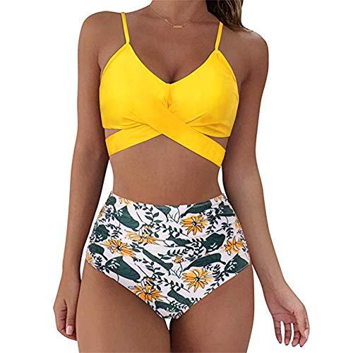 Binggong Bikinis - Conjunto de bikinis para mujer, dos piezas, bañador de cintura alta, sexy, estilo vintage