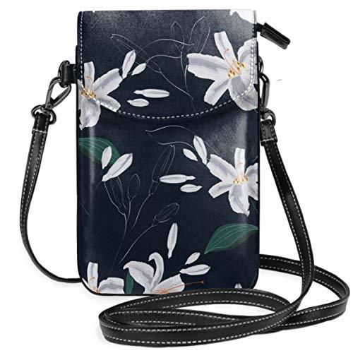 Lsjuee Bolso bandolera pequeño para teléfono móvil para mujer, cartera para teléfono inteligente con hombro extraíble para ir de compras, hermosas flores de lirios blancos