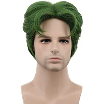 Karlery 5 Inches Short Curly Men Fluffy Dark Green Halloween Party Cosplay Costume Wig