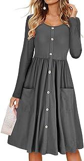 Aiweijia Primavera de mujer Manga larga, cuello redondo, cintura alta, cuello en V Botón abajo, Patinador, fiesta, fiesta, color sólido, vestido de damas con bolsillos, vestido delgado, delgado