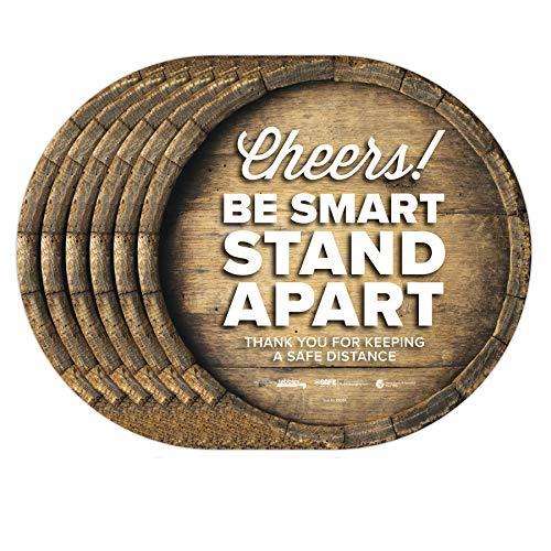 BeSafe Messaging'Cheers! Be Smart Stand Apart' Barrel, 6 Pack - 12' Round, Repositionable Vinyl UL 410 Certified Anti-Slip Floor Sign, Commercial, Restaurant Footprint Decals (6 Pack)
