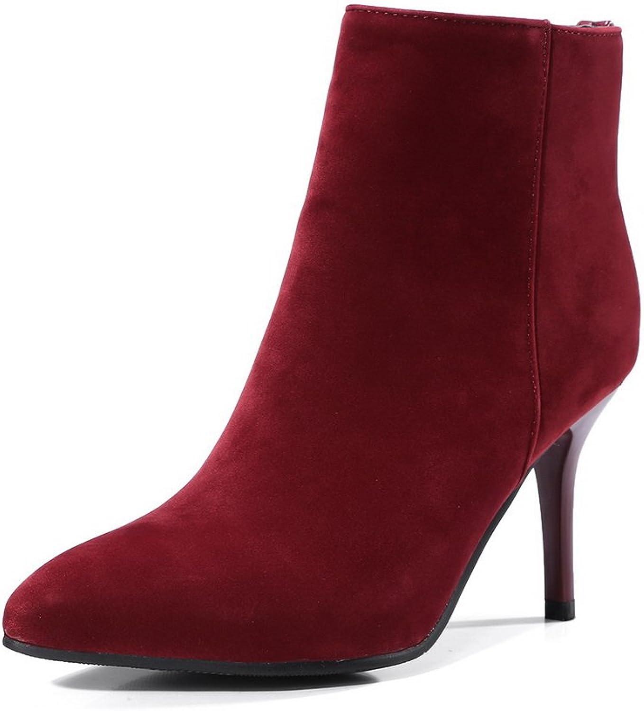 AandN Womens Boots Closed-Toe Zip High-Heel Warm Lining Studded Nubuck Performance Cushioning Bootie Urethane Boots DKU01921